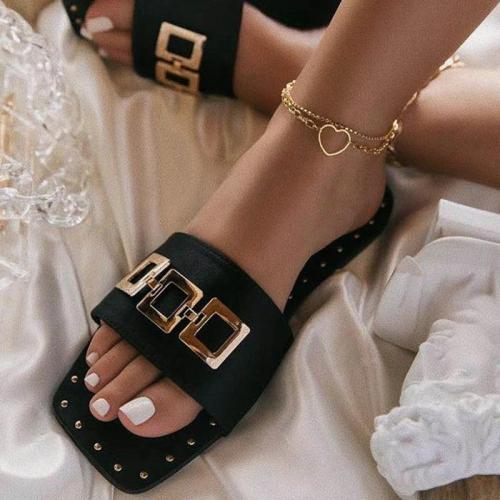 Women Fashion Pu Metal Button Print Sandbeach Sandals Slippers