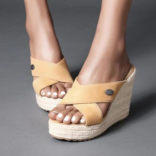 Women Wedge Heel Slip-On Open Toe Espadrille Sandals