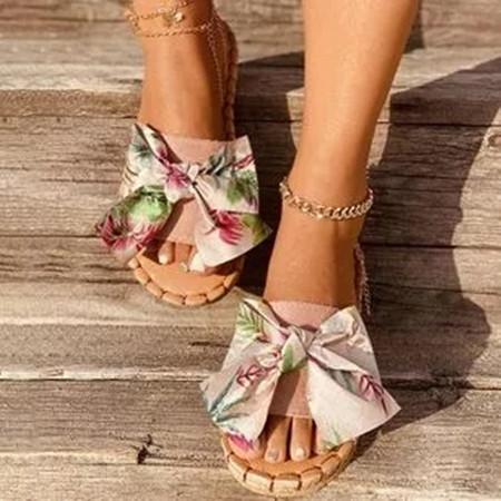 Women's Bowknot Flower Round Toe Cloth Flat Heel Slippers