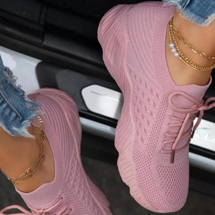 Thick Bottom Solid Colour Lace Up Sneakers