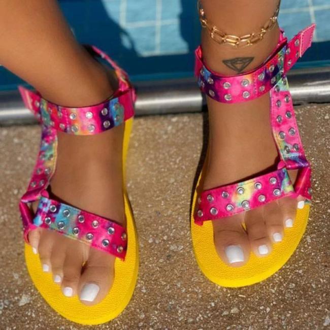 Women Fashion Web celebrity style Pu Rhinestone Magic Tape Flat Sandals