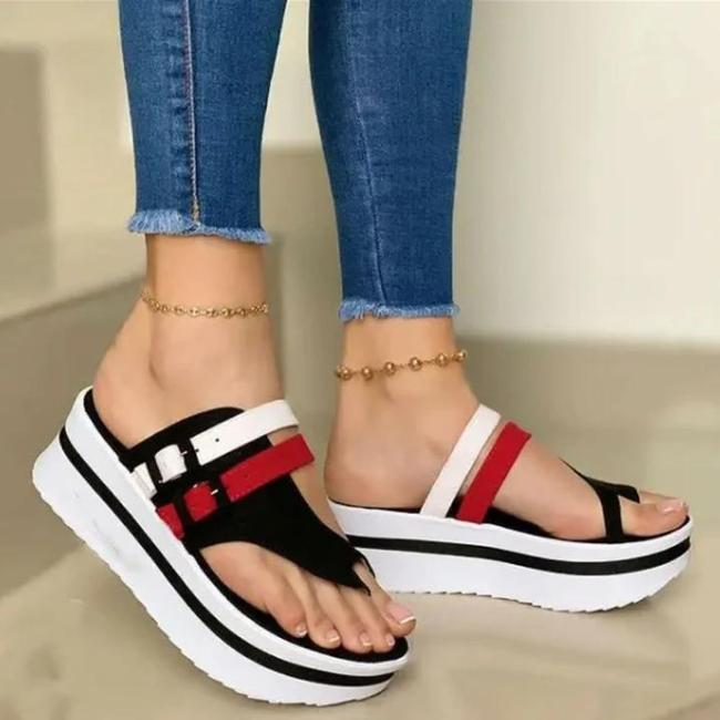 Women's Fashion Color Block Platform Comfortable Sandals