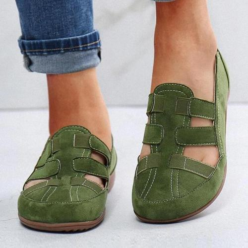 Women Casual Comfortable Artificial Suede Hollow-out Elastic Band Slip On Flat Sandals