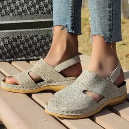 Women's Flower Slingbacks Nubuck Wedge Heel Sandals