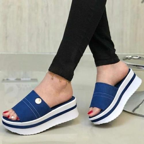 Women Casual Comfortable Pu Platform Sandals Slippers
