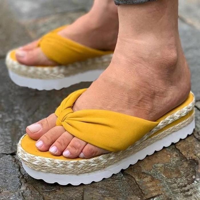 Women Casual Comfortable Cloth Flip-flop Platform Sandals Slippers