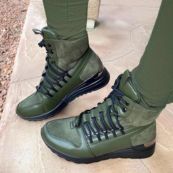 Wedge Lace-up Boots