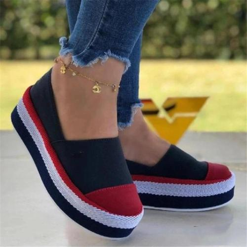 Women Spring Color Block Platform Casual Shoes