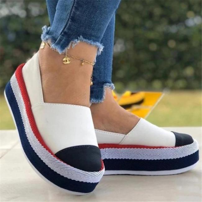 Women Spring Color Block Platform Casual Shoes