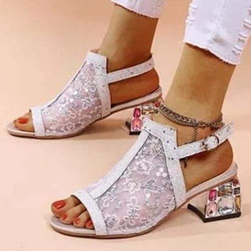 Women's Buckle Slingbacks Fabric Chunky Heel Sandals
