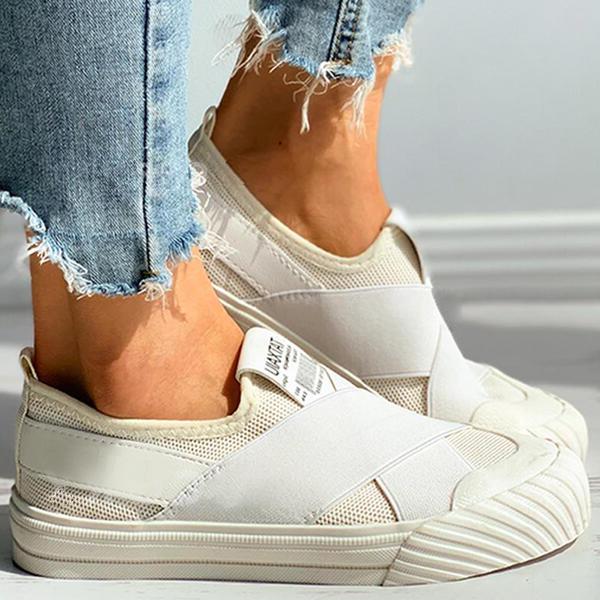 Women's Canvas Flat Heel Flats Shoes