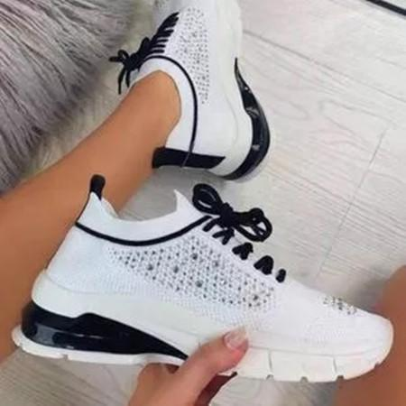 Women's Lace-up Closed Toe Fabric Wedge Heel Sneakers