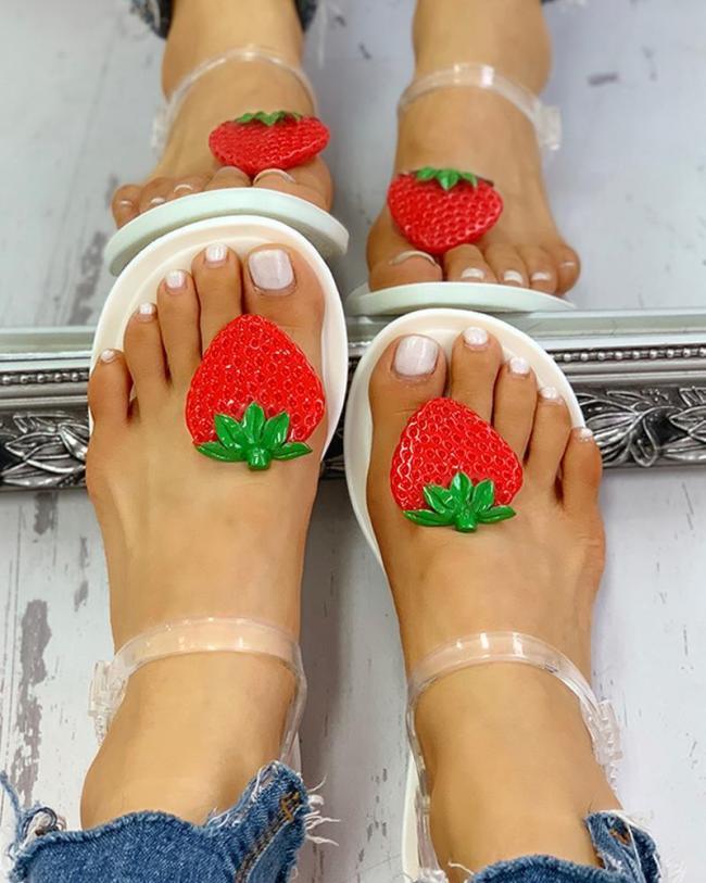 Transparent Strap Strawberry Pattern Sandals