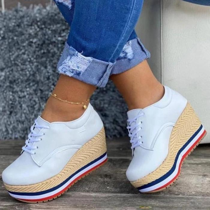 Women Fashionable Wedge Woven Sole Comfortable Casual Loafers