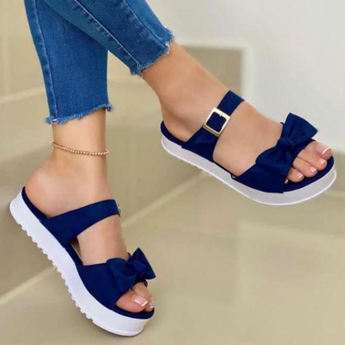 Women Fashion Comfy Pu Bowknot Thick Bottom Slippers
