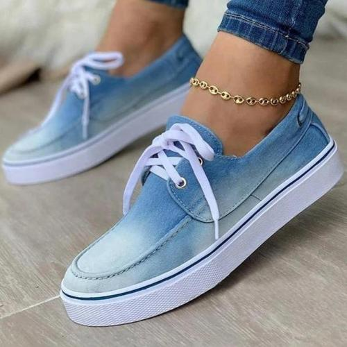 Women Casual Canvas Pure Color Lace-up Shoes