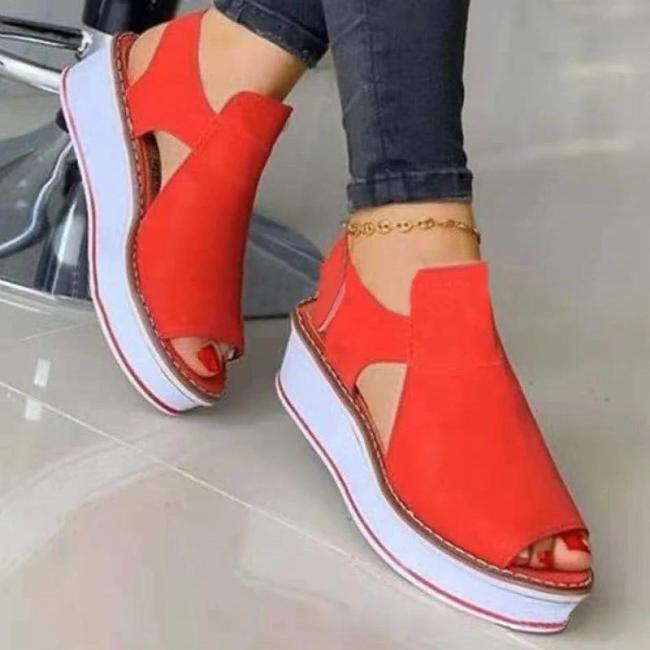 Women Casual Pu Hollow-out Peep Toe Magic Tape Platform Sandals