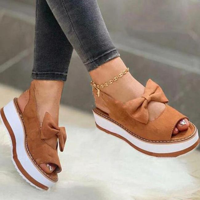 Women Casual Comfortable Pu Bowknot Adjusting Buckle Platform Sandals