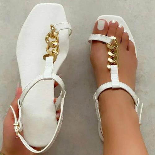 Women Fashion Pu Chic Chain Toe Loop Adjusting Buckle Flat Sandals