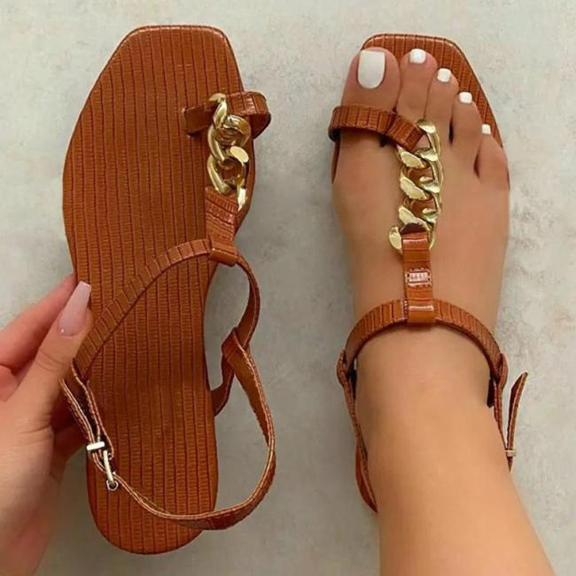 Women Fashion Pu Chic Chain Toe Loop Adjusting Buckle Flat Sandals