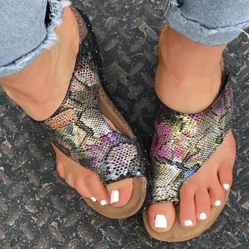 Women Casual Comfy Pu Print Toe Loop Beach Sandals