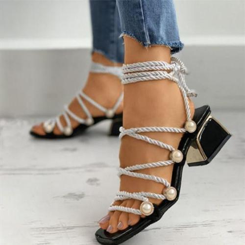 Women's Stylish Rhinestone Bow Strap Chunky Heel Sandals
