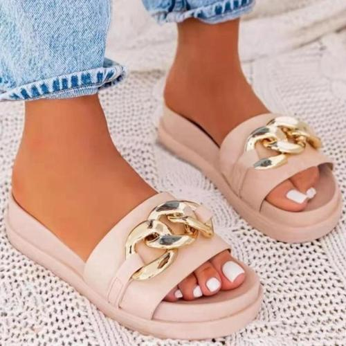 Women Casual Fashion Pu Chain Platform Beach Sandals