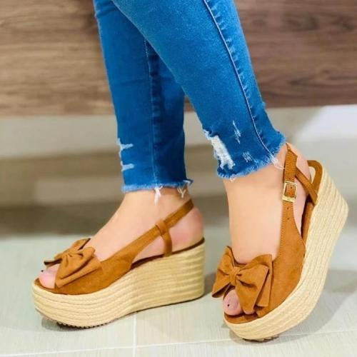 Ladies Summer Bow Pumps Sandals