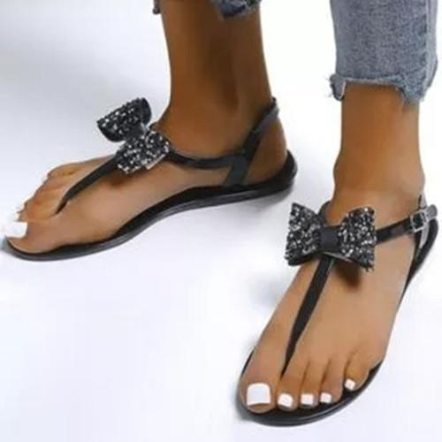 Women's Bowknot Buckle Flats Flat Heel Sandals