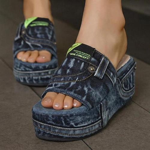 Women Casual Comfortable Denim Pure Color Wedge Heel Sandals