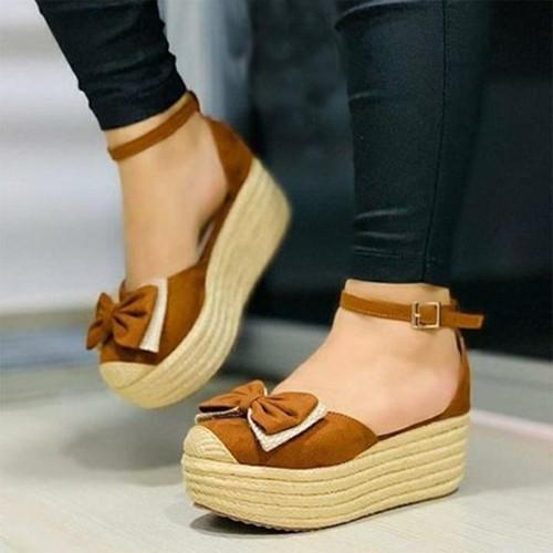 Women Buckle Bow Platform Sandals