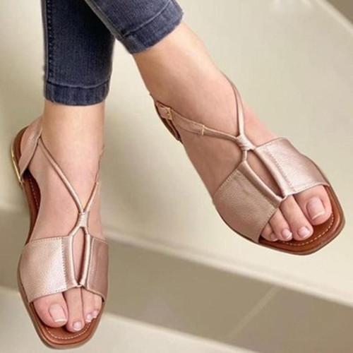 Peop Toe Flat Heel Sandals
