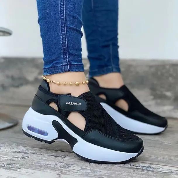 Women's Fashion Air Cushion Sole Flying Woven Velcro Sneakers