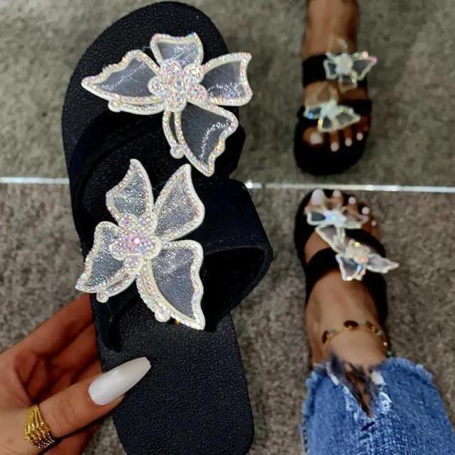 Women Fashion Pu Butterfly Adornment Wedge Heel Sandals