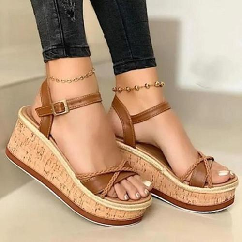 Summer Buckle Wedge Sandals