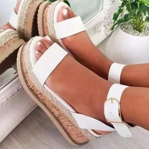 Women's Buckle Round Toe Flat Heel Sandals