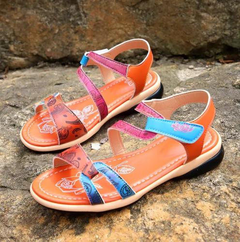 Women's Fashion Velcro Colorblock Printed Sandals