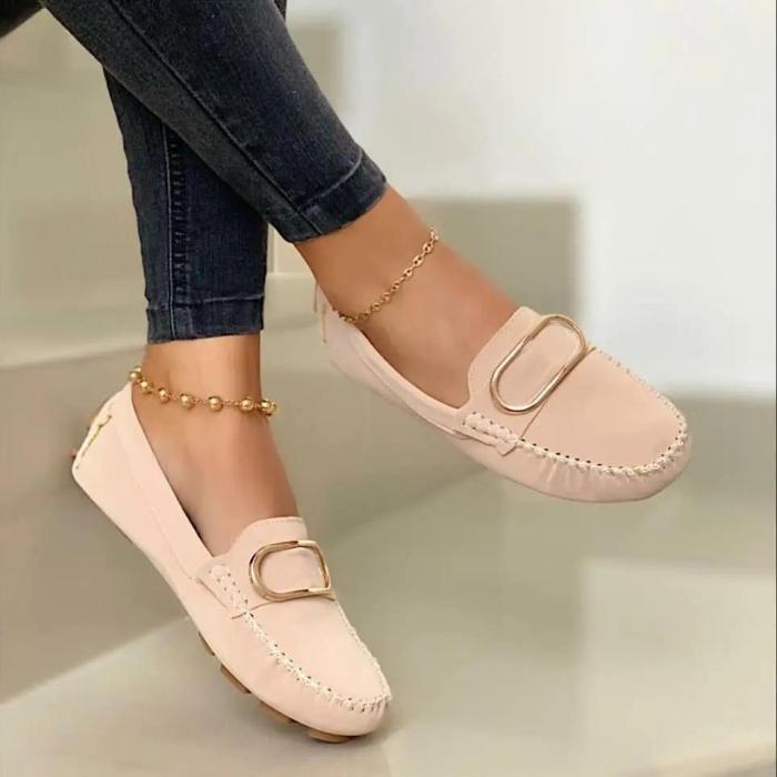 Women's Comfy Metallic Detail Flat Shoes