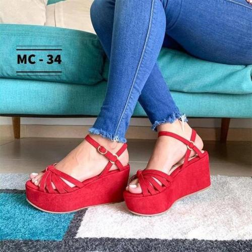 Ladies Fashion Buckle Wedge Round Toe Sandals