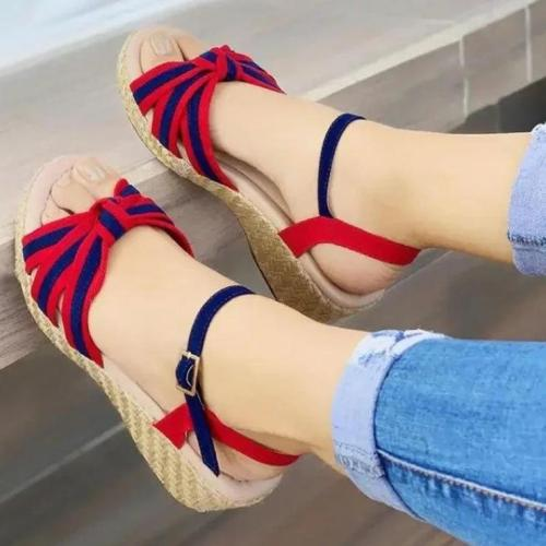 Women's Fashionable Bowknot Colorblock Woven Sole Sandals