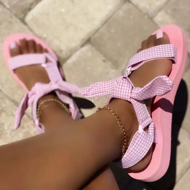 Women's Fashionable And Comfortable Plaid Print Velcro Sandals