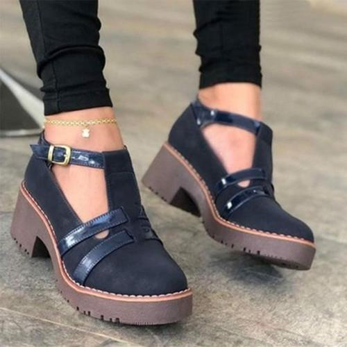 Adjusting Buckle Platform Chunky Heel Sandals
