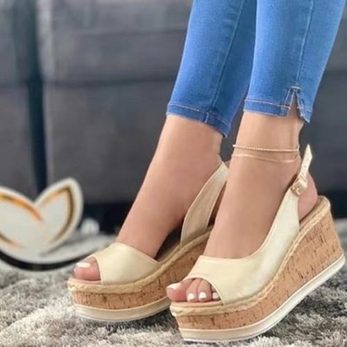 Peop Toe Wedge Heel Sandals