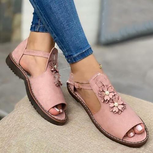 Peop Toe Flower Sandals