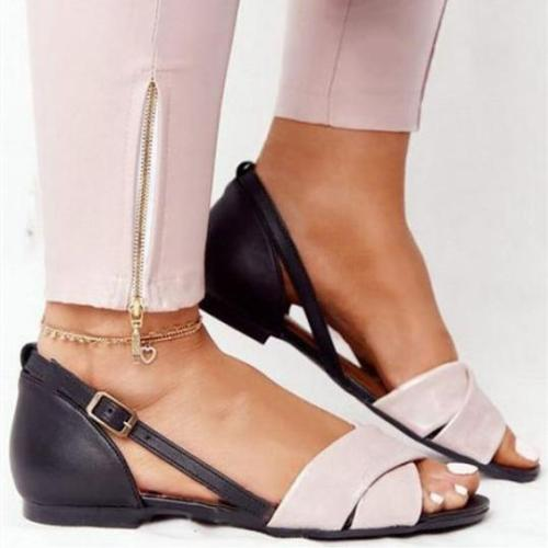 Womens Fashion Color Matching Flat Sandals