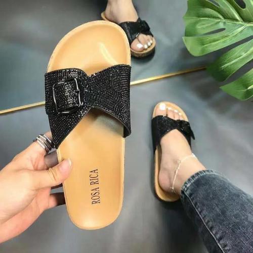Women's Fashion Rhinestone Cork Slippers