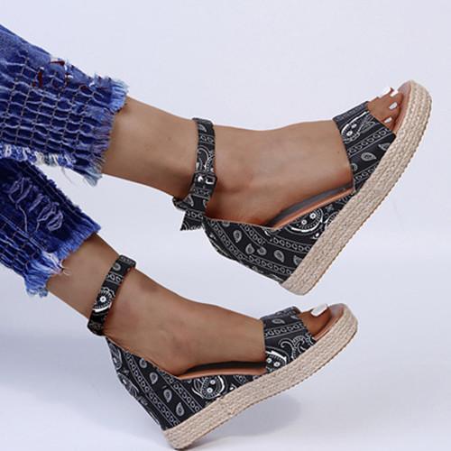 Women's  Round Toe Cloth Flat Heel Sandals