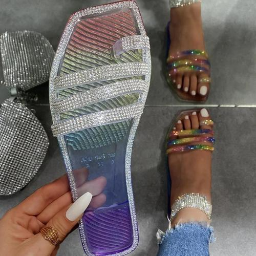 Women Fashion Simple Pu Rhinestone Toe Loop Flat Sandals Slippers