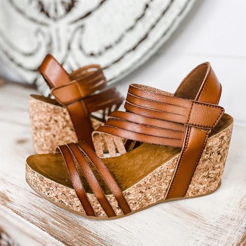 Women's Fashion Retro Velcro Wedge Sandals