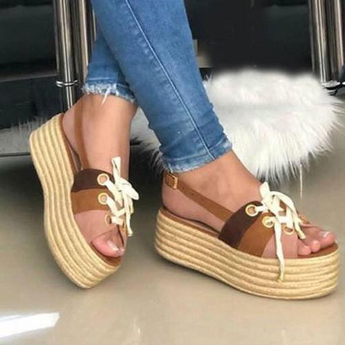 Lacing Wedge Platform Sandals